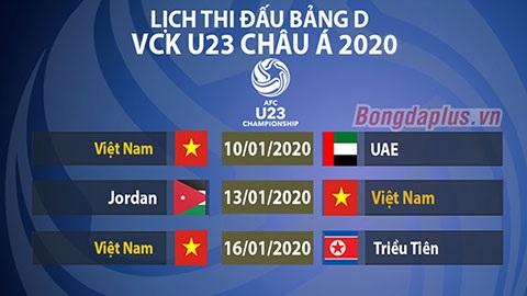 lịch thi đấu của đội tuyển việt nam tại giải u23 châu á